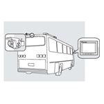 8881200 Rear Observation Camera System on a bus drawing. Camera in the rear. Monitor in the cab.